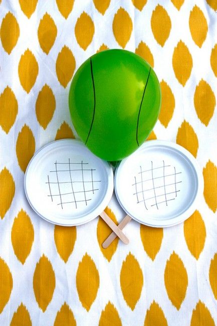 Toddler tennis: Sturdy popsicle sticks, paper plates and a balloon!