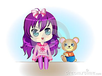 Vector Illustration of a cute Cartoon Girl with Teddy Bear sitting.