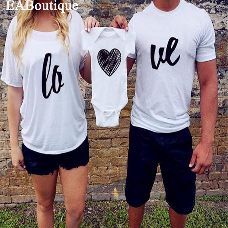EABoutique American style letter love family matching clothes couple shirts family t shirt retail