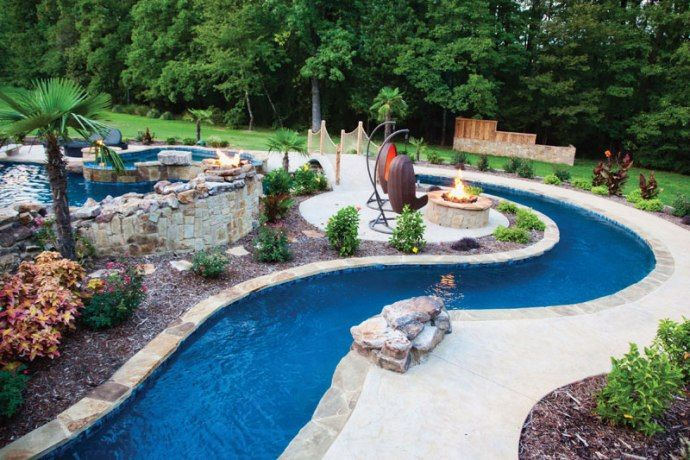 Elite Pools by Scott lazy river pool firepit