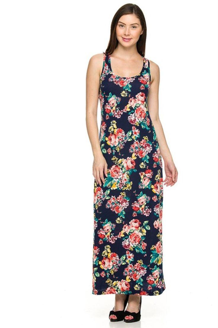 Sleeveless Mixed Print Racerback Maxi Dress