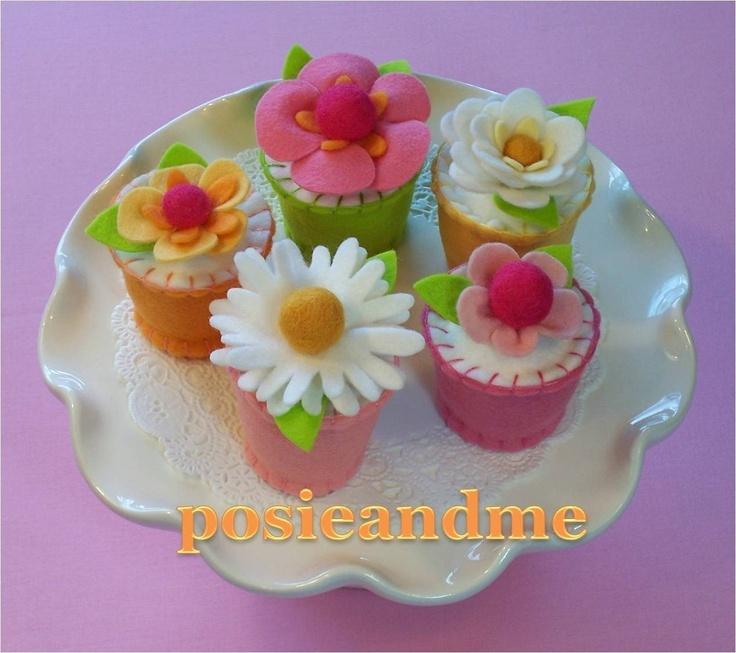 Set of Four Wool Felt Cupcakes