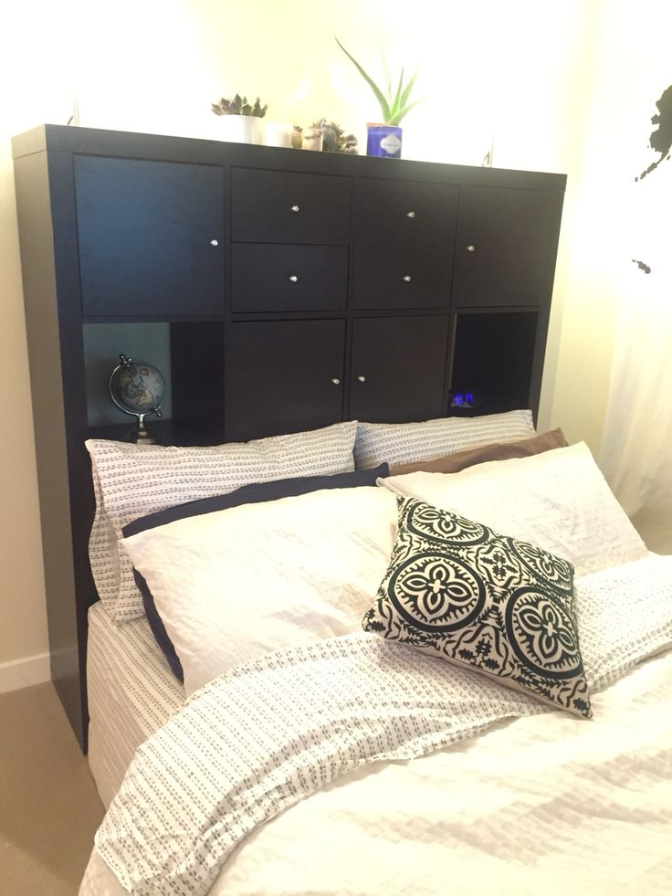 Ikea Kallax As Headboard With Plenty Of Storage Loft Life Bedroom Inspo Bedroom