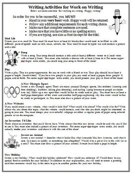 "This 8 page activity contains over 50 creative writing activities that will be a hit with your students.    We are using these writing activities for students when they choose ""Work on Writing"" for The Daily 5 and they love it!"
