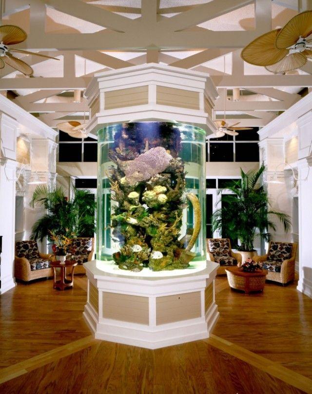 aquarium-intégré-salon-idées-colonne-centrale aquarium dans le salon