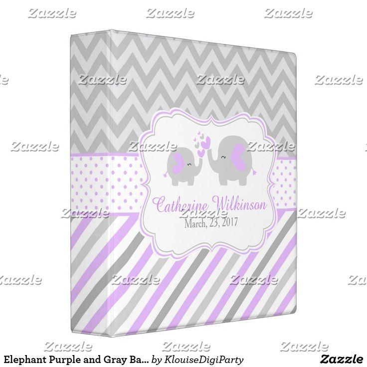 Elephant Purple and Gray Baby Shower Memories Binder