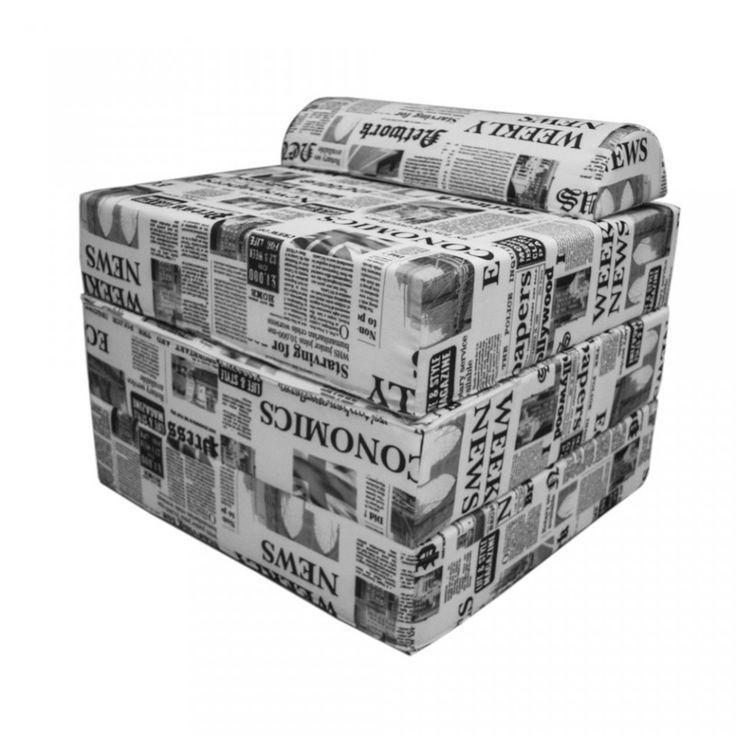 Sleeping Cube, il Puff che si trasforma in Letto per Ragazzi a fantasia giornale. Misura 60x45x60. #Arketicom #ArketicomLab #pouf #touf #poufletto #sofà #artigianato #madeinitaly #ottoman