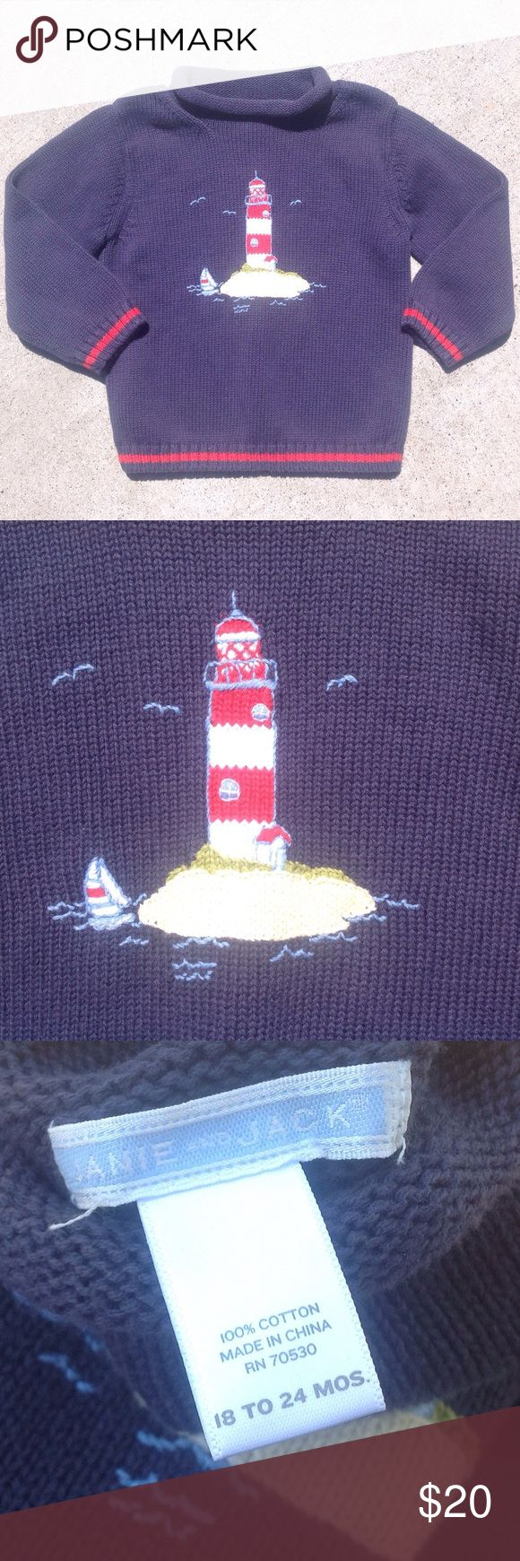 Janie and Jack Navy Lighthouse Sweater - 18-24M Navy blue sweater, long sleeves, roll neckline, with lighthouse, sailboat and seagulls. 100% Cotton. Excellent condition. Janie and Jack Shirts & Tops Sweaters