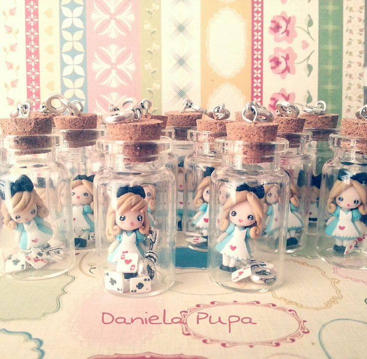 """glass bottle pendants """"Alice in the wonderland"""" by Daniela Pupa Kawaii Jewels"""