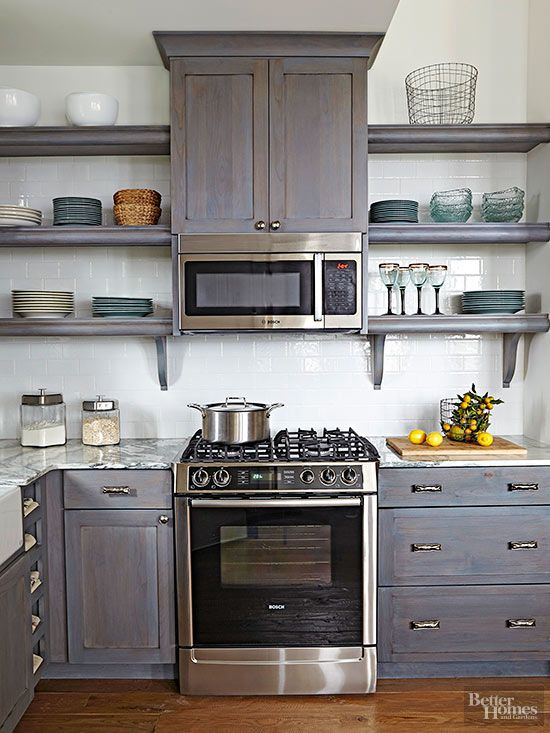 Open Shelves Eliminate The Heavy Look Of Closed Cabinetry And Lighten Up Small Es