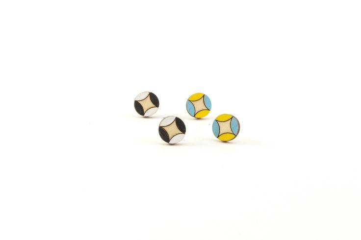 Wooden Stud Earrings | Handmade Painted Circle Pattern Wood Earrings
