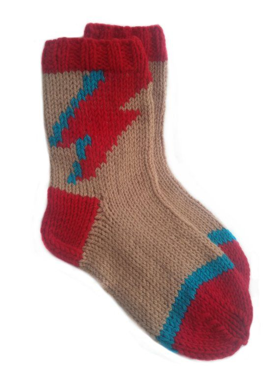 Knitted socks David Bowie craft hand Music lover gift Geek