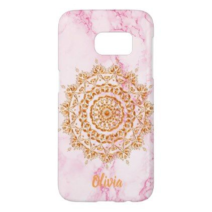 Faux gold mandala on light pastel pink marble samsung galaxy s7 case - pink gifts style ideas cyo unique