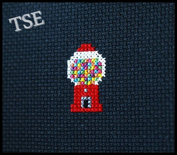 Gumball Machine Cross Stitch (Printable PDF Pattern) - Immediate Download from Etsy - Cute Sweet Candy Style