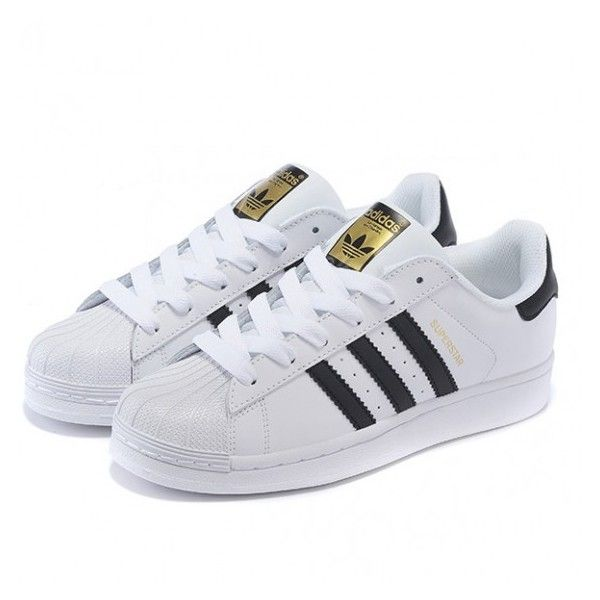 Adidas Originals Superstar Casual Shoes Gold standard White Black via Polyvore featuring shoes, sneakers, adidas originals trainers, black white shoes, white black shoes, white and black sneakers and adidas originals shoes