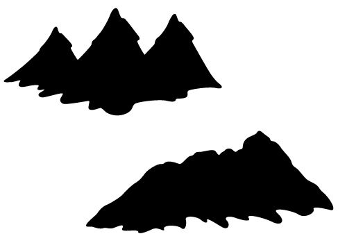 Mountain silhouette vector with hills and valleys free Mountain silhouette