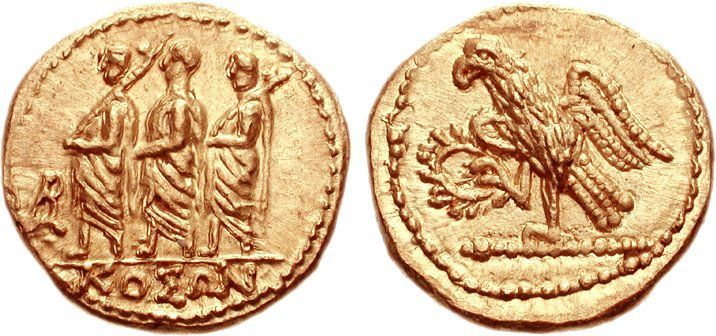 A gold stater coin (weighing 8.31 g) from Geto-Dacian Scythia (modern-day Transylvania), dating from the mid-first century B.C. The obverse side of the coin, shown on the left, depicts a Roman consul accompanied by two lictors, with a monogram to the left and underneath the name ΚΟΣΩΝ, the king under whom this coin was minted. - Organize in #KlaserApp