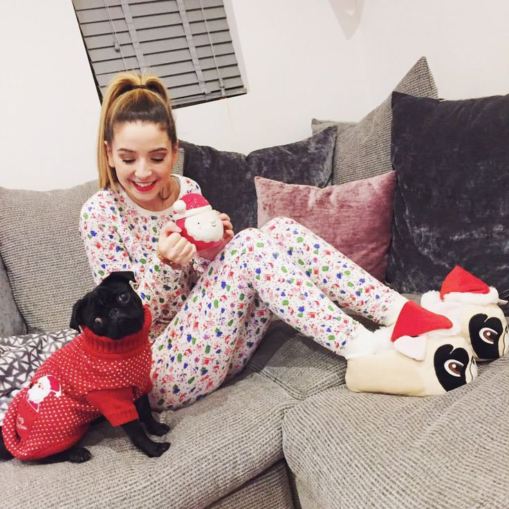Even in a onesie and really cool pug slippers she looks flawless