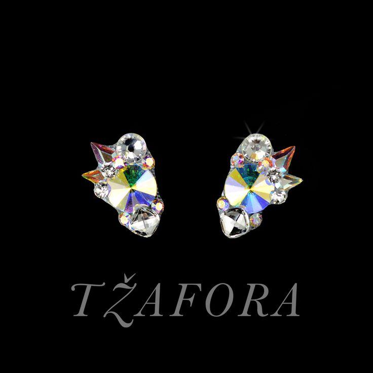 """Can't Stop"" -- Swarovski ballroom earrings. Ballroom dance jewelry, ballroom dance dancesport accessories. www.tzafora.com Copyright ©️️️️️️️ 2017 Tzafora."