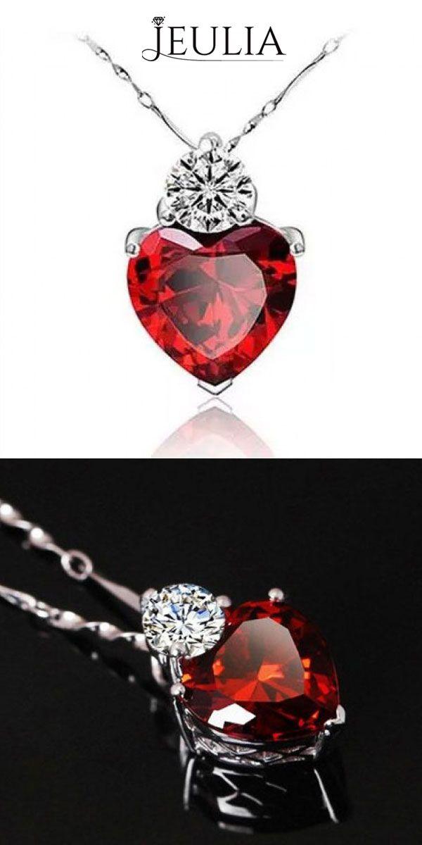 Sweet Heart Shaped Red Garnet 925 Sterling Silver Women's Necklace #jeulia
