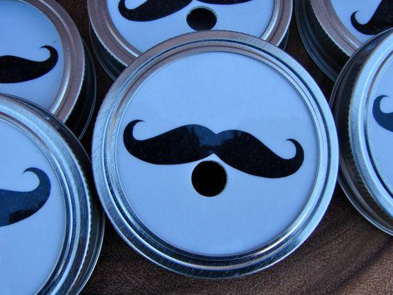 Mustache - Party Mason Jar Lids - 15 Lids Only