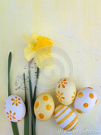 Yellow painted Easter eggs and daffodil flower