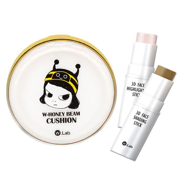 W.Lab Honey Beam Cushion 15g & 3D Face Highlighter & Shading Stick Set 11g #WLab