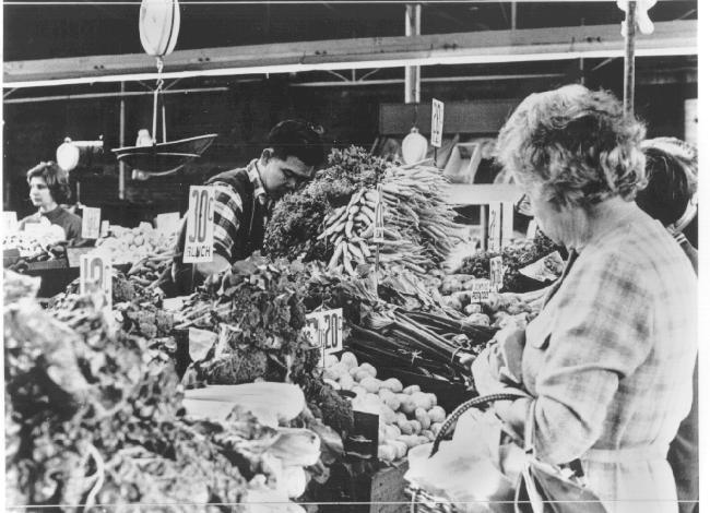 Fruit and vegetable stall at Prahran market, ca. 1965.