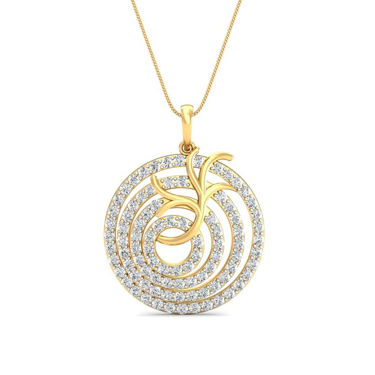 Gold pendant Online 1.1 Ct Real Certified Diamond  Workwear