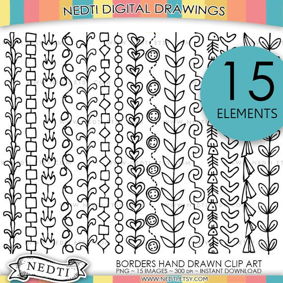 Borders Doodle Clip Art Border Clipart Hand drawing PNG by Nedti