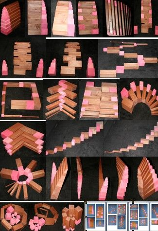 Montessori Pink Tower of Cubes and Brown Stair Extensions