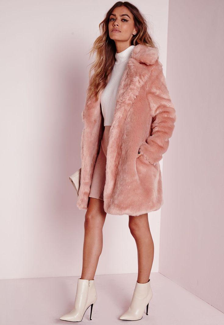 Missguided - Longline Faux Fur Coat Pink