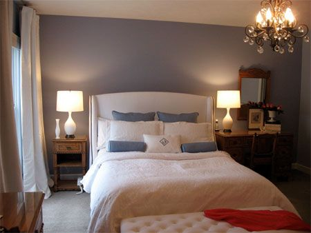 slate blue bedroom for the home