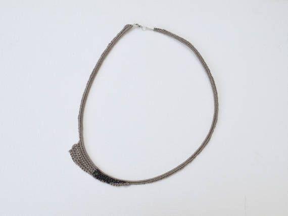 Thin elegant necklace short necklace crochet necklace tan