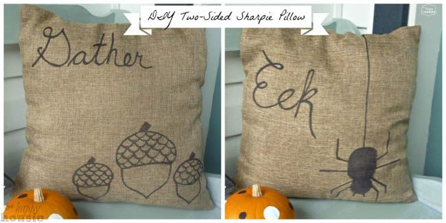 Quick'n'Easy DIY Two-Sided Sharpie Pillow for Fall - The Happy Housie