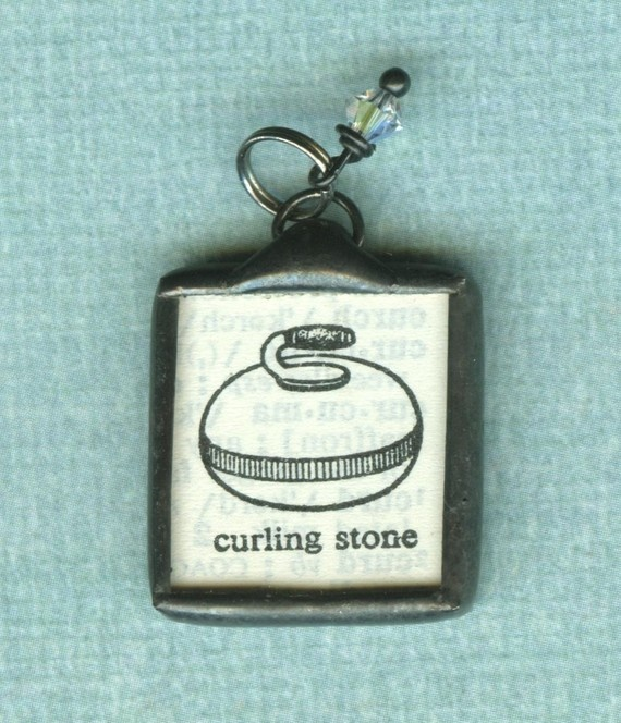 Sport Gloves Bronze Morph Ft: Vintage Dictionary Curling Stone Pendant