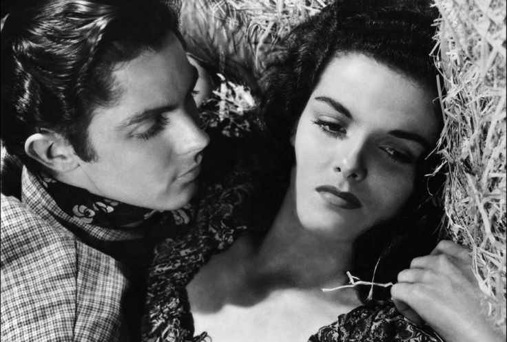 Jane Russell & Jack Buetel in The Outlaw (Howard Hughes, 1943).