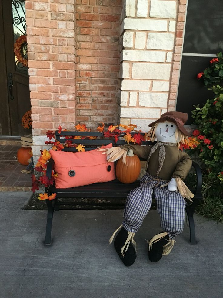 Autumn Fall Bench Decor Scarecrow Fall Porch Decor