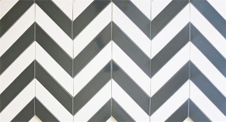 Kiln collection #Chevron #Ceramic #Tile in Milk and Carbon. www.modwalls.com