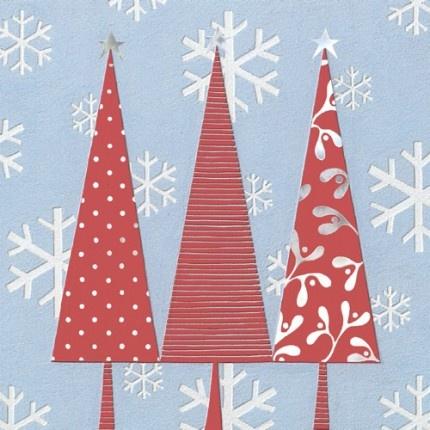 Three Red Trees Contemporary Christmas Cards - 2E104