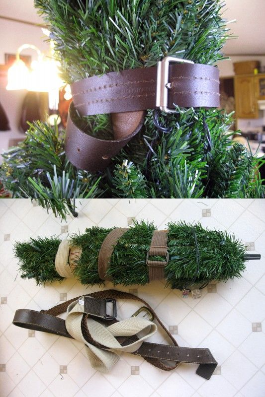 $5 Christmas Tree Storage Solution: Use thrifted belts to cinch down artificial tree branches for storage in original box or tight space.