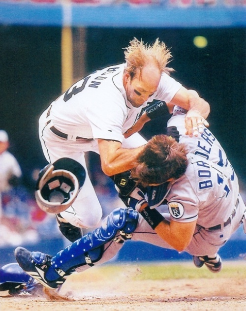 Kirk Gibson annihilates Royals catcher Pat Borders in a 1995 game at Tiger Stadium.