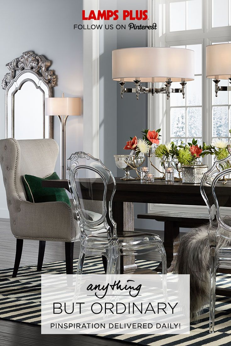 A memorable meal starts with a dining room that's anything but ordinary. Break all the rules with unexpected pairings like a rustic wood dining table and clear acrylic dining chairs. Pinspiration delivered daily from @lampsplus.