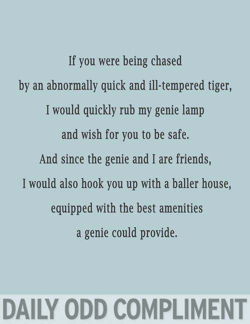 And obviously I'd wish for the tiger to want to be your best friend and also be immortal cause giving people things that die is a bad idea and I don't know how long tigers live.