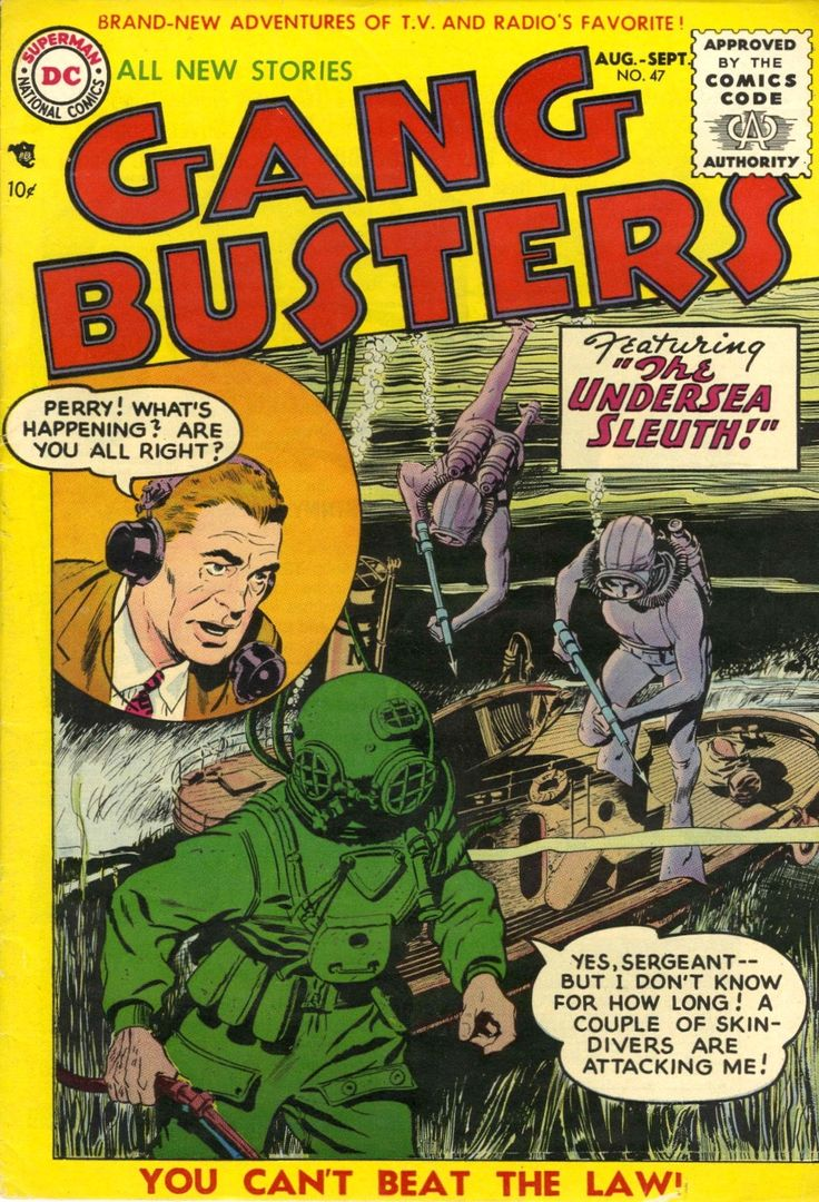 Gang Busters #47 (1955).  Cover art: John Prentice.  The Best UNDERWATER Comic Book Covers -  A collection of some of the top underwater comic book covers ever created.