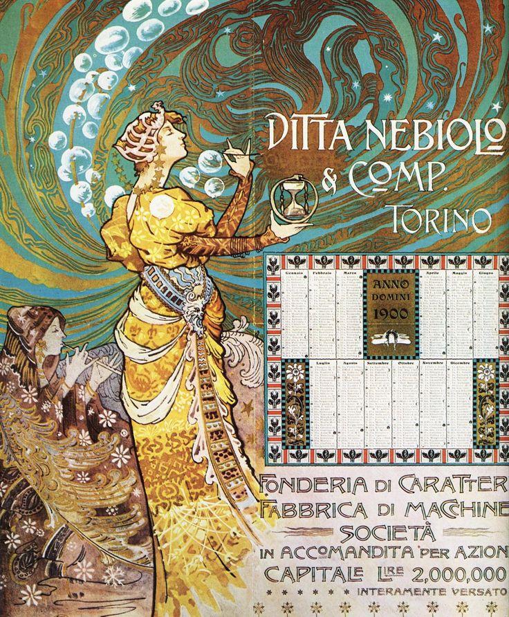 Calendar for engineering manufactory Ditta Nebiolo, Turin. 1900   Tumblr