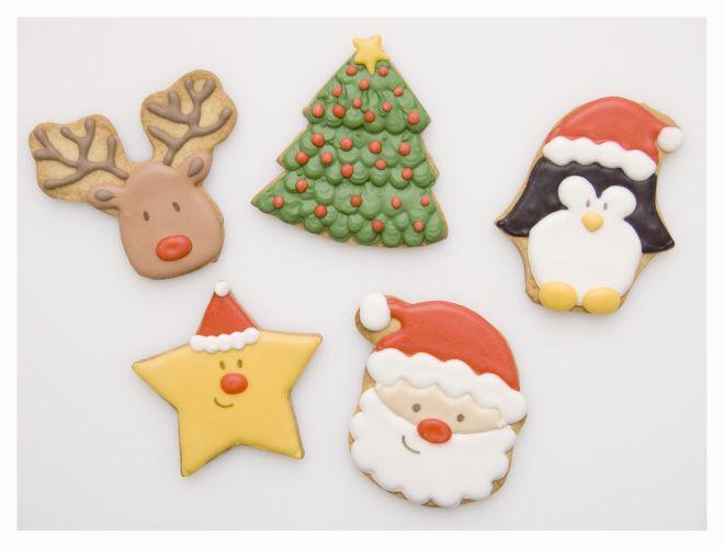 Galletas para navidad. Reno, árbol, pinguino, estrella, papa noel.