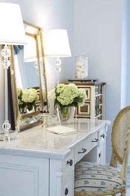 inspiration pics. for my #diy bankers desk project: Wardrobes Closet, Vintage Mirror, Idea, Vanities Tables, Dresses Tables, Gold Accent, Fresh Flowers, Dresses Rooms, Tall Lamps