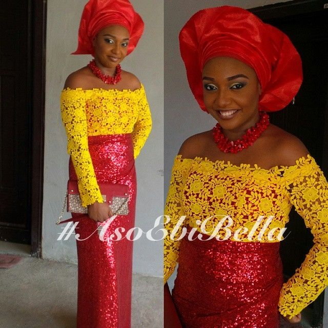 Yellow Lace Blouse With Sequined Wrapper & Red Gele