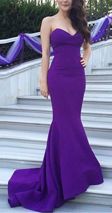 Sexy strapless prom dress - purple